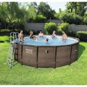 Kit piscine ronde Power Steel Frame couleur rotin