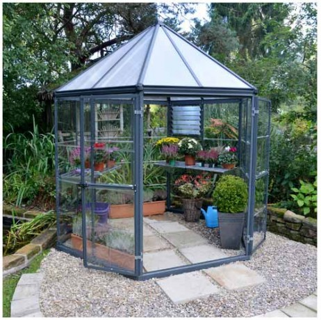 Serre de Jardin Hexagonale Oasis gris anthracite 5,6 m²